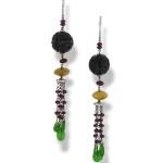 279476 Carved Black Jade Bead Drop Earrings